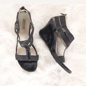 Kenneth Cole Reaction Black Patent Leather Wedges